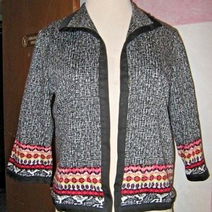 Black White Open Front Multi Print Blazer Jacket